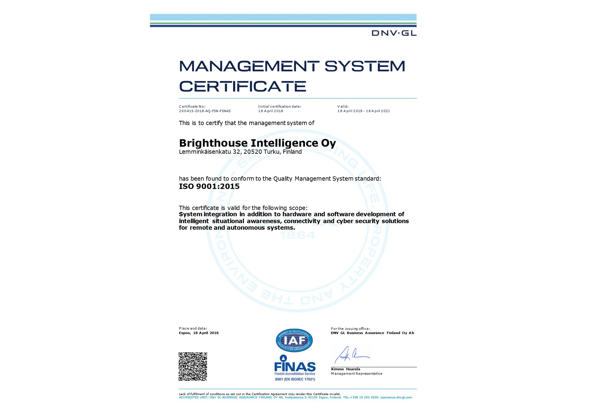 ISO9001 Certificate received