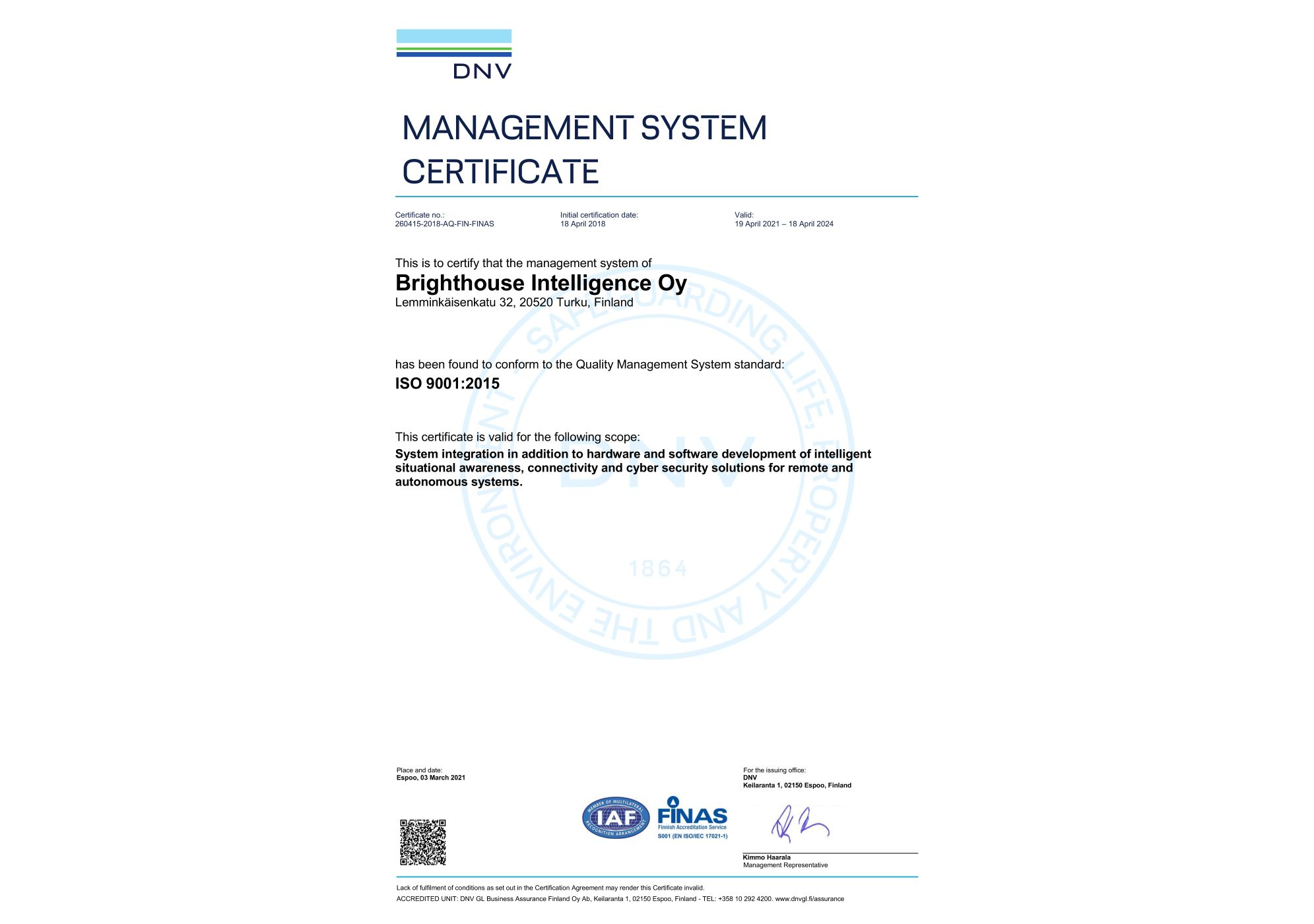ISO9001 Certificate renewed by DNV-GL